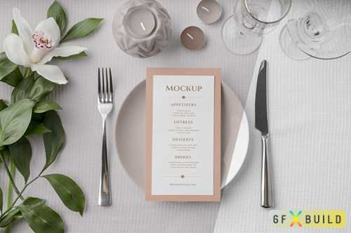 Flat lay of spring menu psd mock up on plate with cutlery and flowers