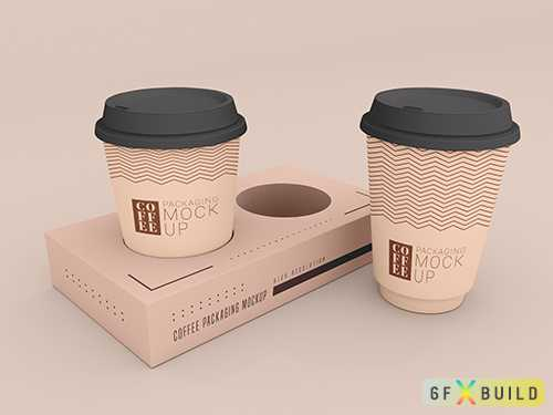 Disposable coffee cup with box mockup psd