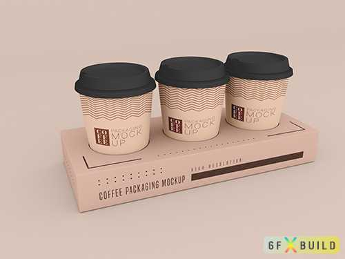 Disposable coffee cup with box psd mockup