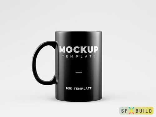 Black mug mockup psd template