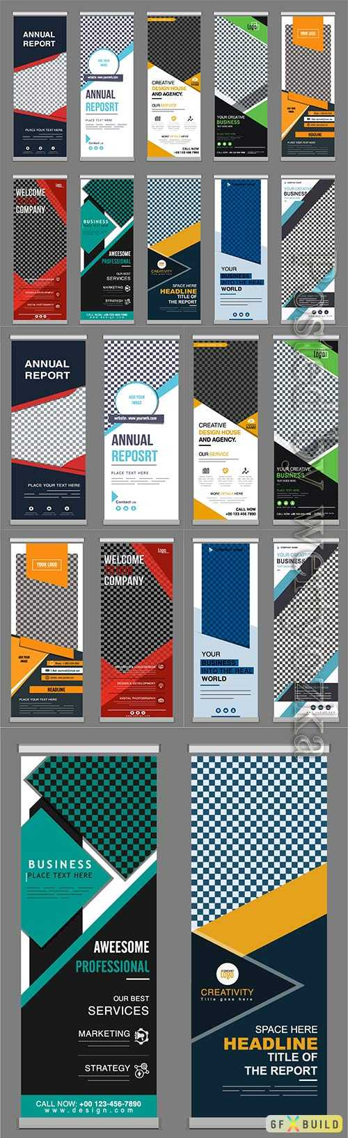 Standee business banner modern, elegant templates  checkered geometry