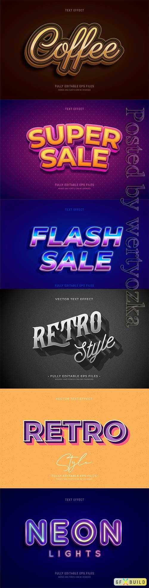 3d editable text style effect vector vol 344