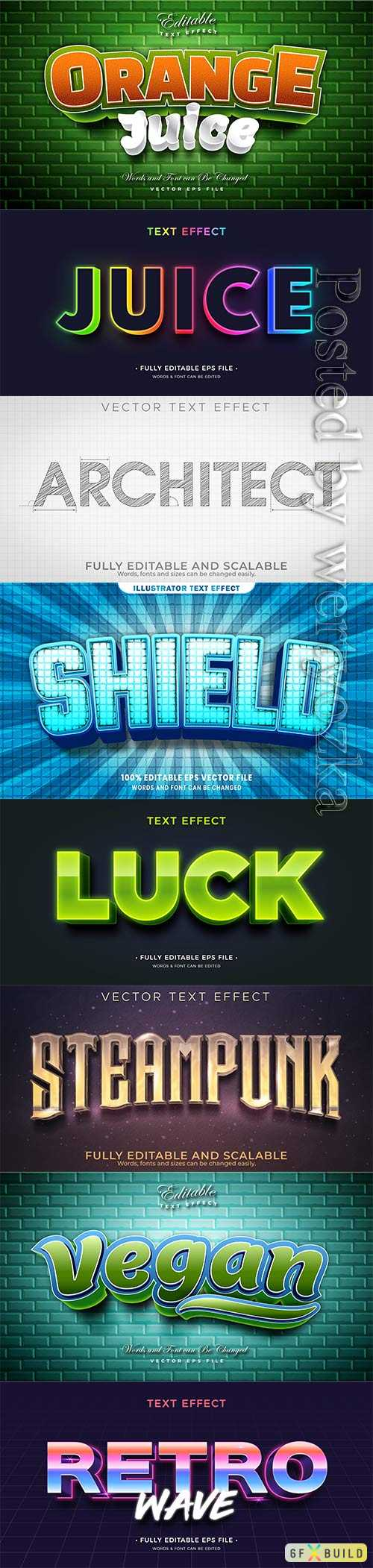 3d editable text style effect vector vol 342
