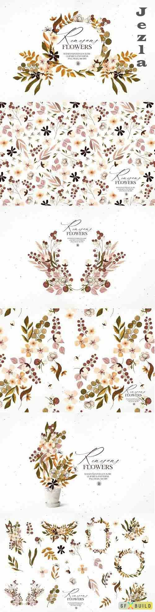 Renesans Flowers - gouache clipart - 6134567