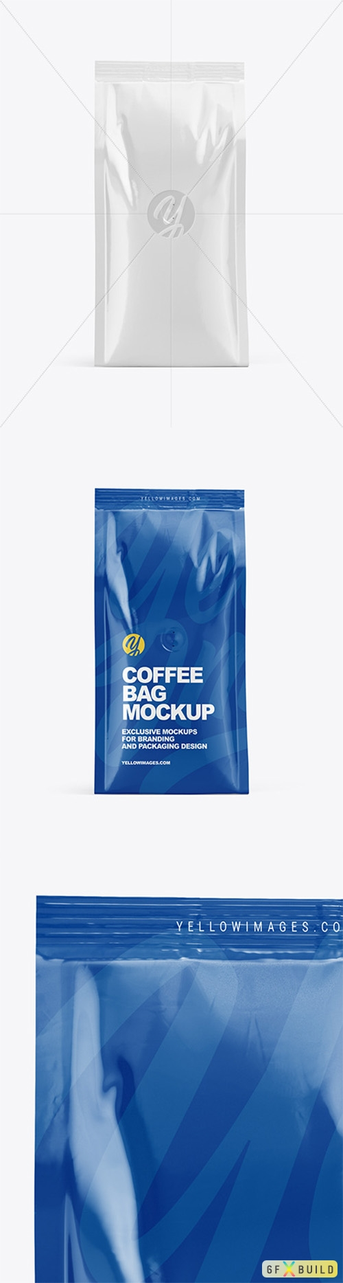 Glossy Coffee Bag Mockup - Front View 63255 TIF