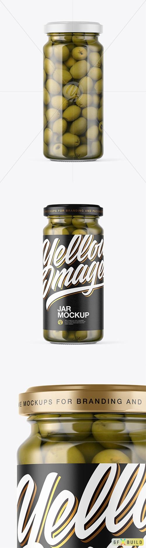 Clear Glass Jar with Olives Mockup 53307 TIF
