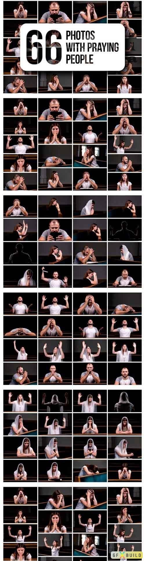 Set of 66 Photos with Praying People