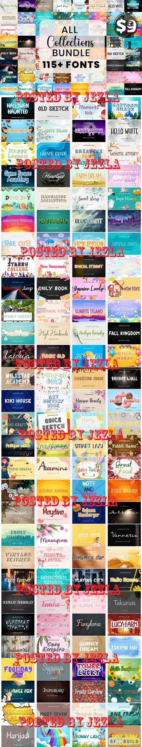 All Fonts Bundle Collection -  116 Premium Fonts
