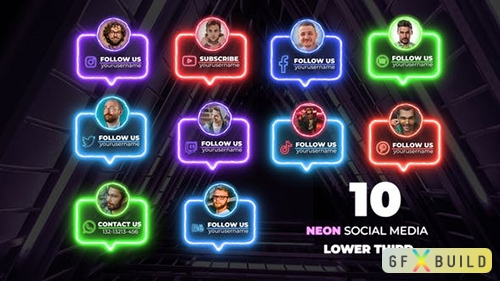 VH - Neon Social Lower Thirds 33111083