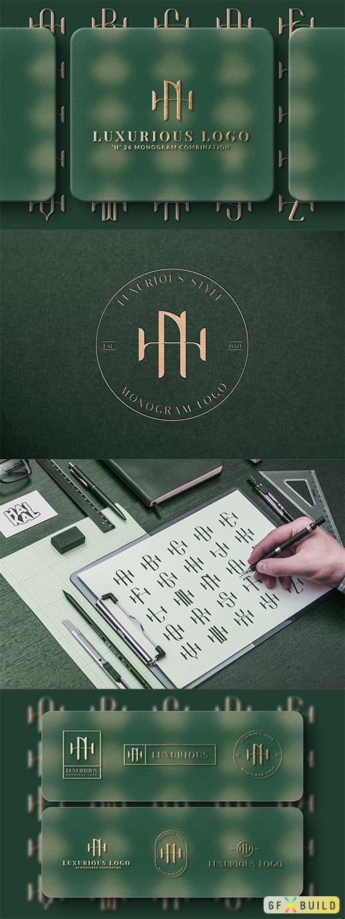 Vector H (A-Z) Monogram Logo Creator Pack Vol.5 B7YCZL4