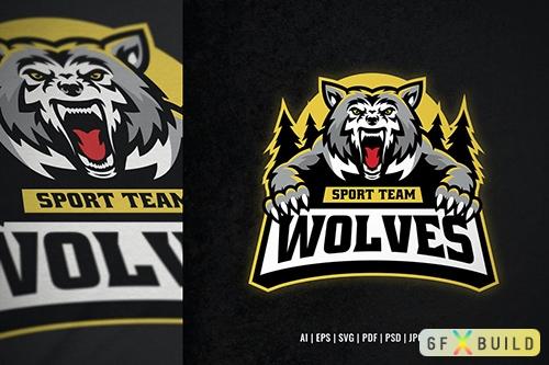 Vector Wolf Mascot Logo Template 6PQL4V4