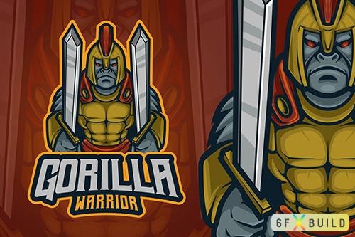 Vector Gorilla Warrior Mascot Logo P5B58U5