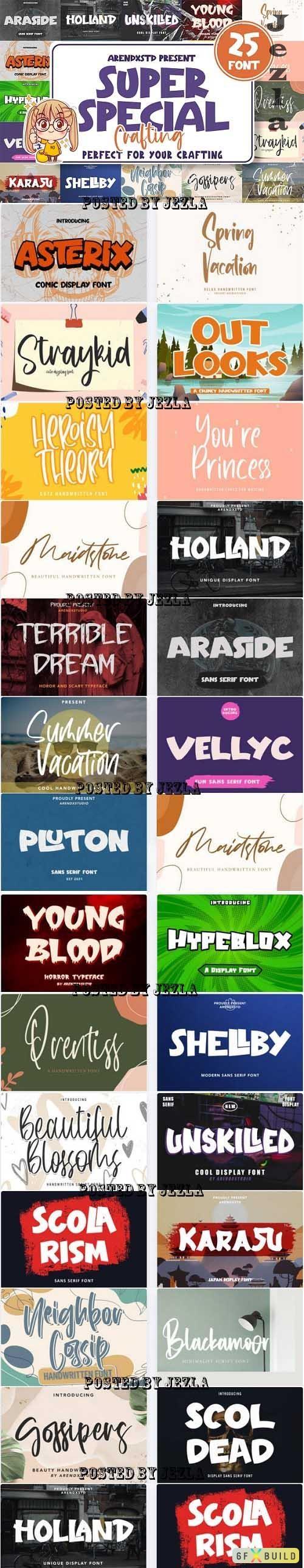 Super Special Crafting Font Bundle - 25 Premium Fonts