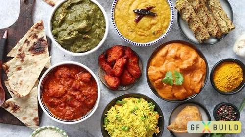 Assorted Indian Various Food with Spices Rice and Fresh Vegetables