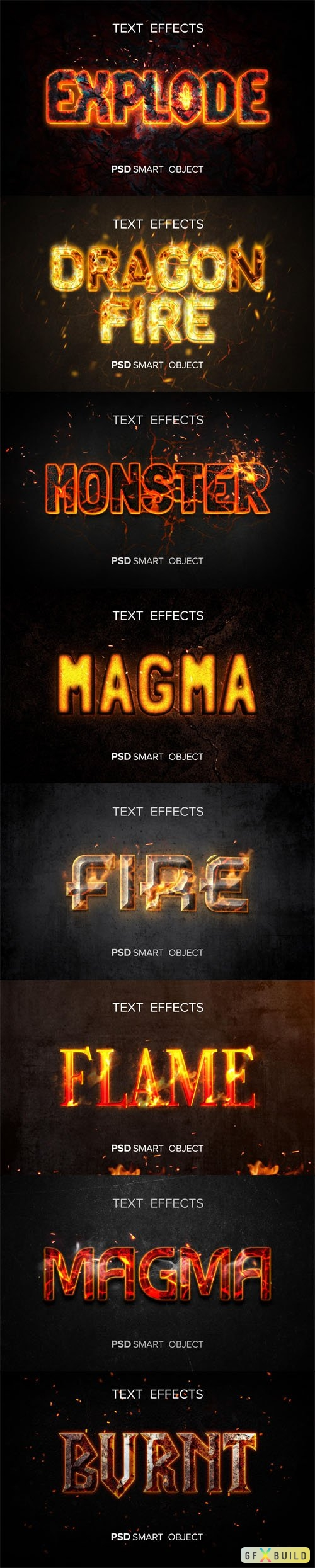 8 Fire Text Effects Templates for Photoshop