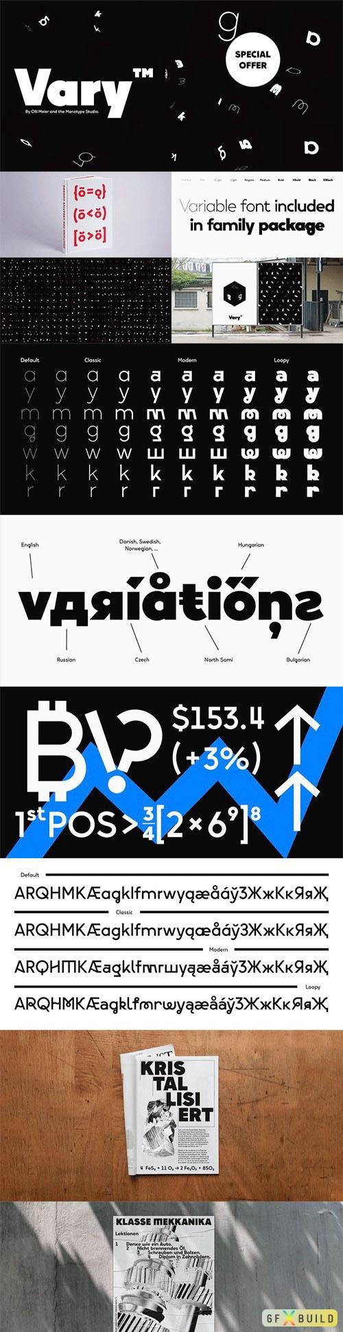 Vary font family