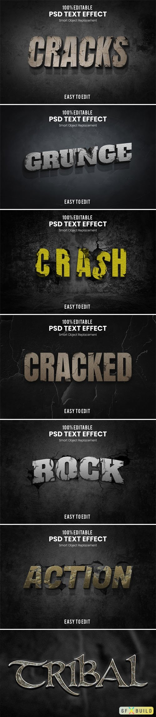 7 Grunge and Cracks PSD Text Effects