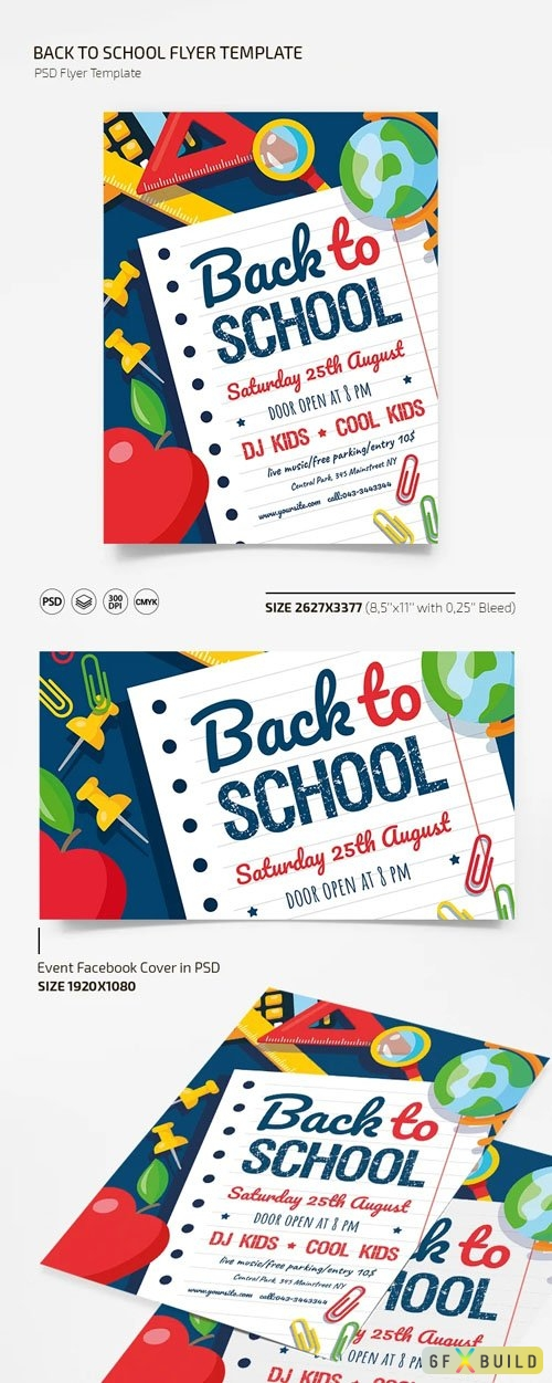 Back To School Flyer PSD Template + Facebook Cover