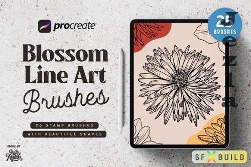 Procreate Blossom Line Art Brushes