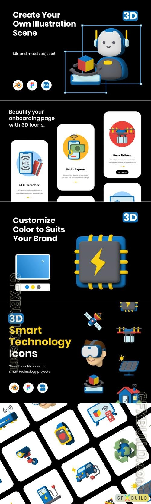3D Smart Technology Icons
