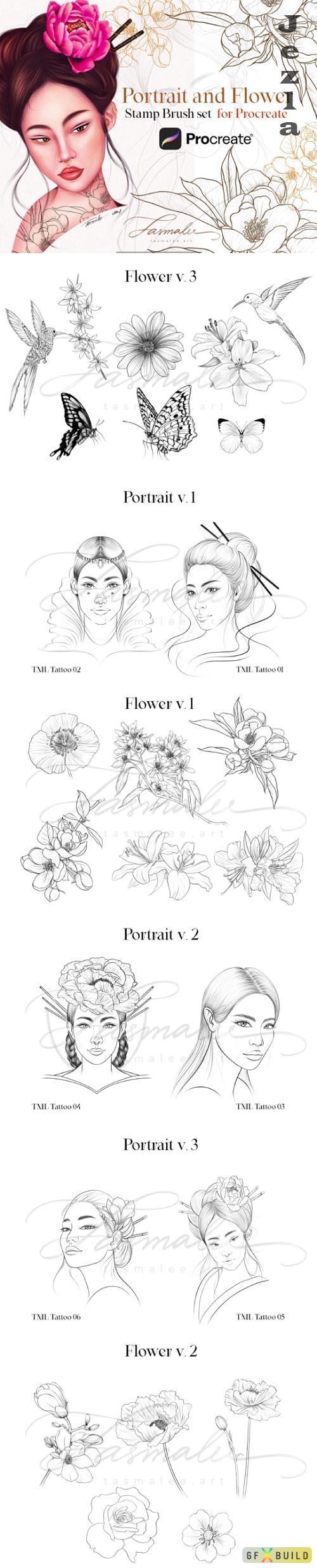 Procreate Portrait Stamps Brush Set