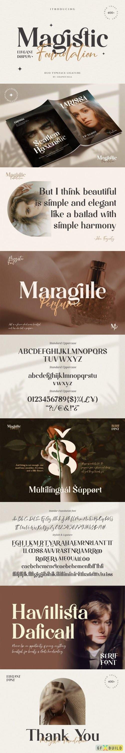 Magistic Foundation Display Font - Duo Typeface Ligature (Script & Serif)