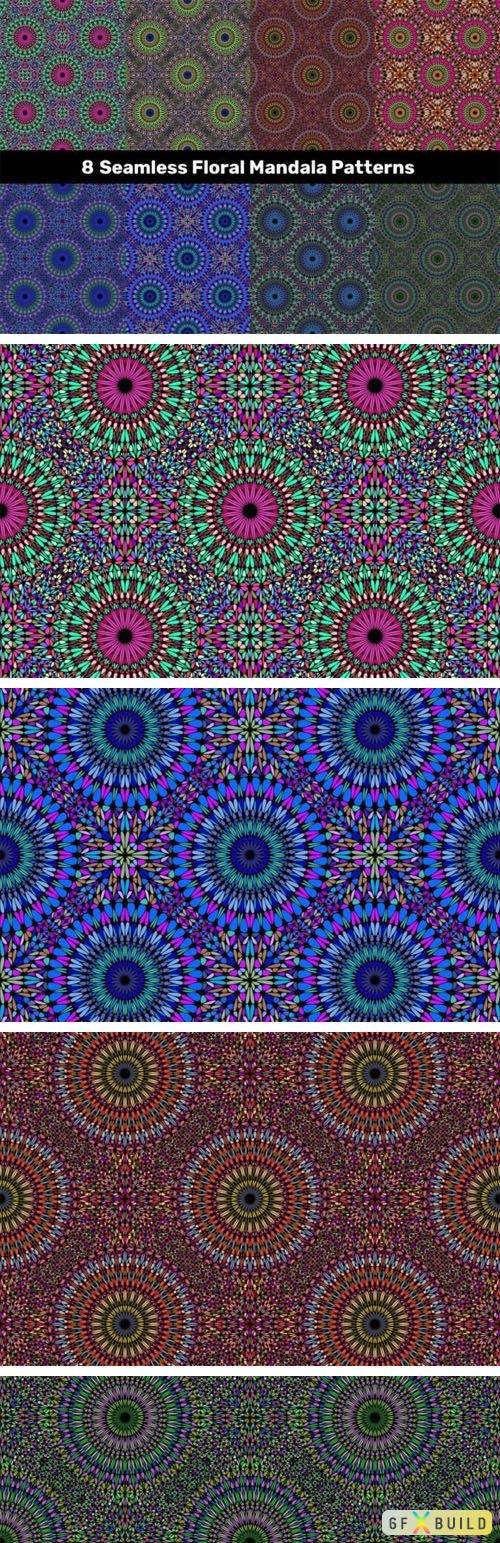 8 Floral Mandala Patterns Vector Templates