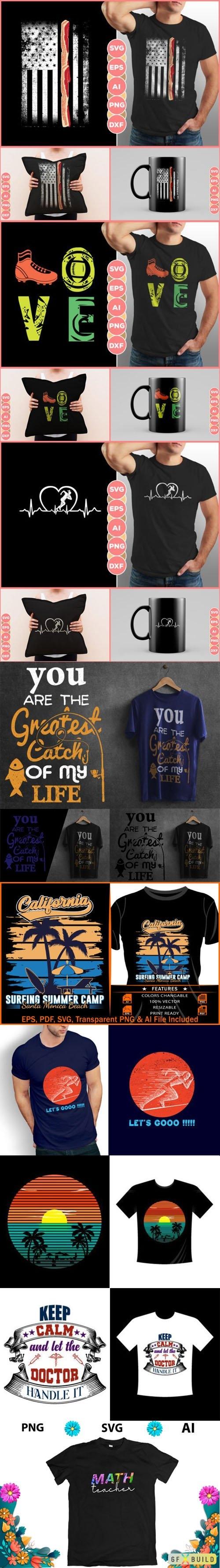 9 T-Shirt Designs Vector Templates
