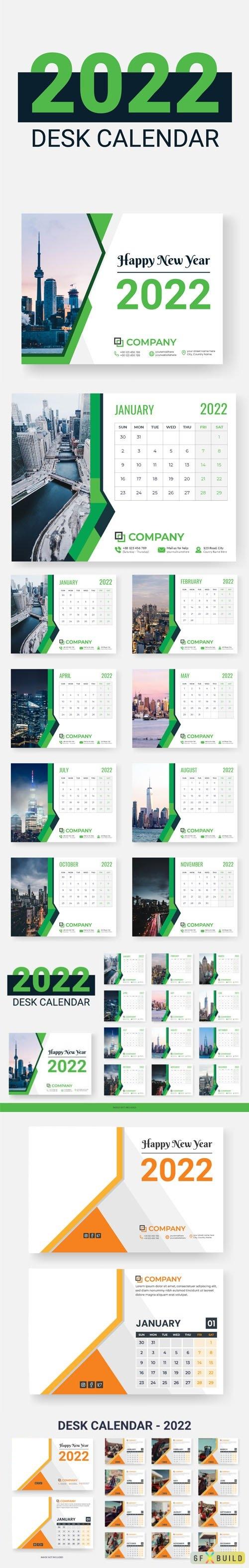 Two Desk Calendars 2022 Vector Design Templates