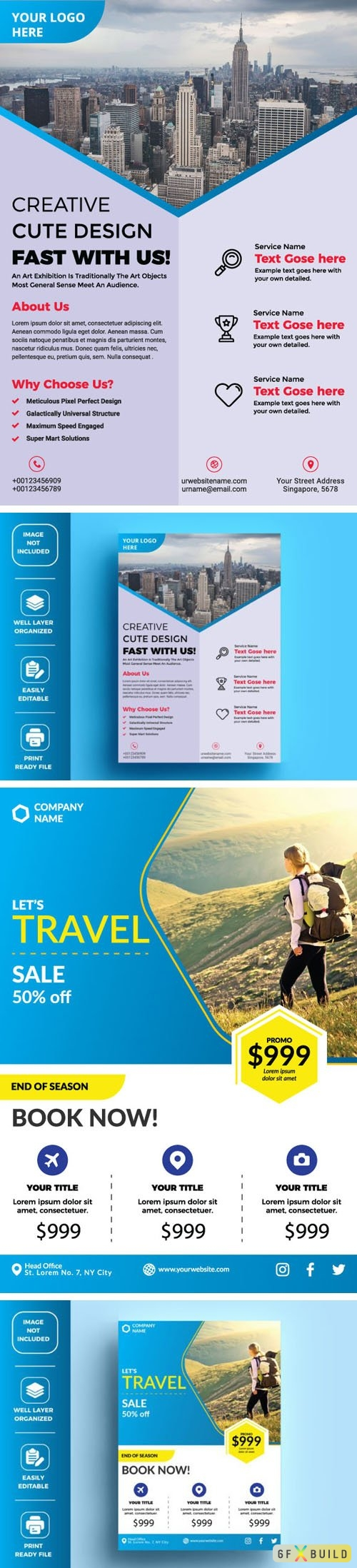 Two Corporate Business + Travel Flyers Vector Design Templates