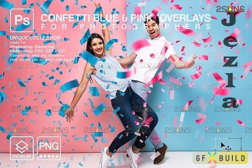 Gender reveal confetti overlay photoshop, Confetti png, Baby V2 - 1447994