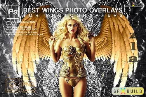 Realistic White Black Gold Angel Wings Photoshop Overlays V2 - 1447938