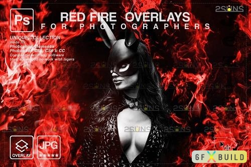 Fire background, Photoshop overlay, Burn overlays, Neon Red Fire V4 - 1447968