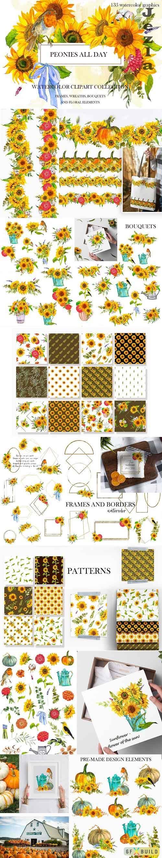 Sunflower and pumpkins. Autumn spirit Watercolor fall Bundle - 1596993