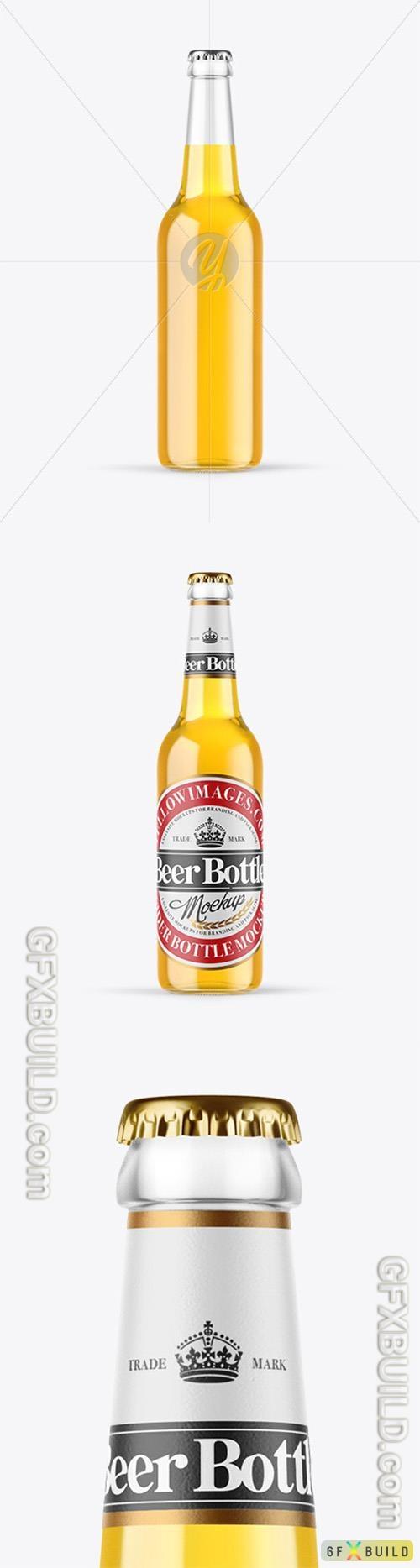 Clear Glass Lager Beer Bottle Mockup 89396