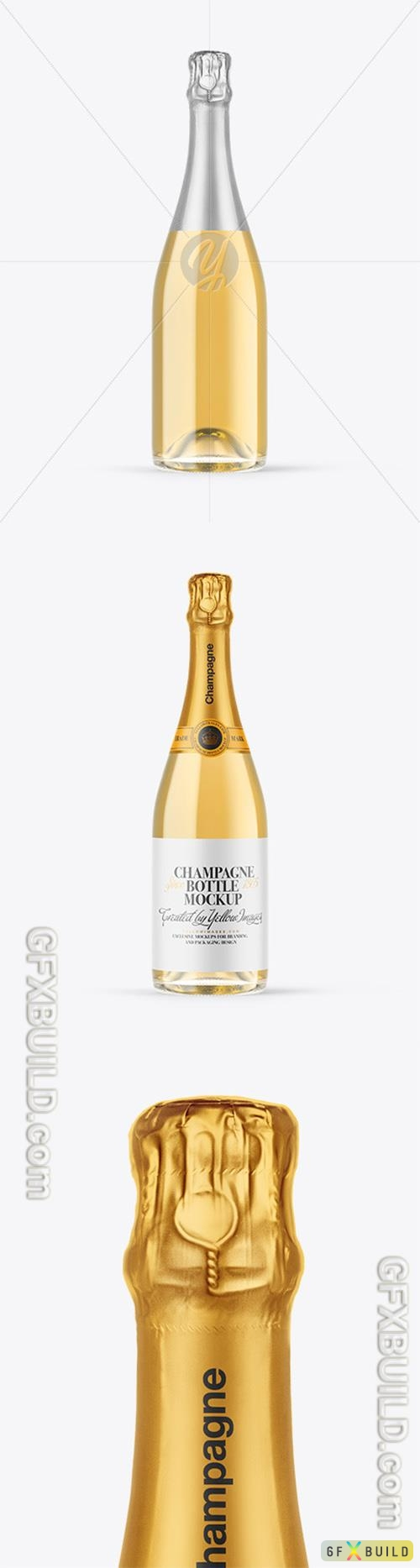 Clear Glass White Champagne Bottle Mockup 89333