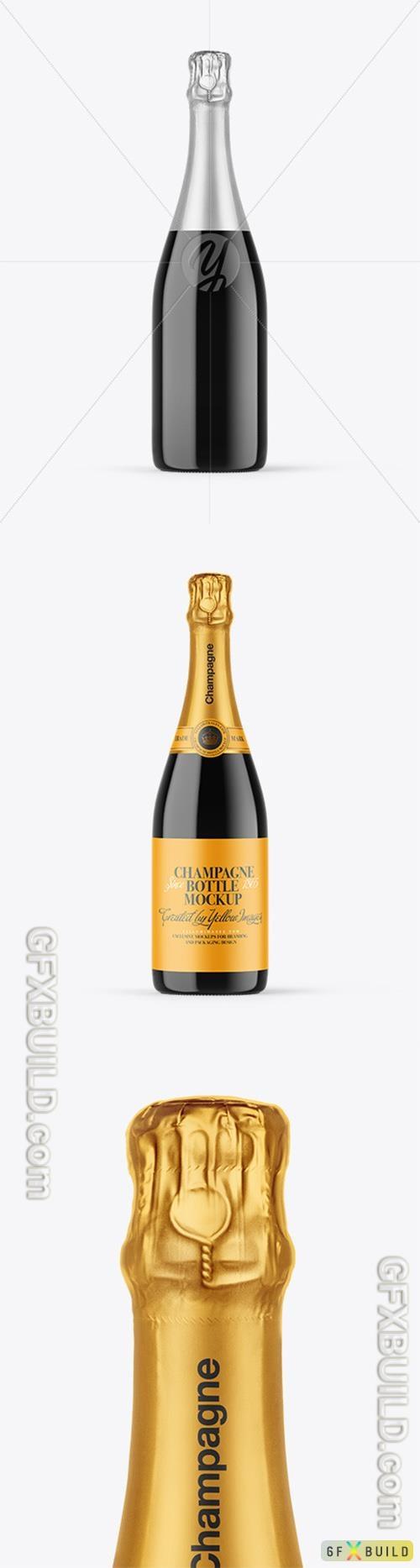 Dark Glass Champagne Bottle Mockup 89331