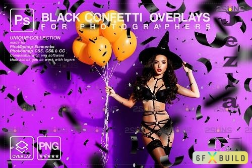 Halloween confetti photoshop overlay & Black Confetti png - 1583929