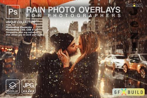 Rain overlay & Photoshop overlay Realistic falling rain V2 - 1584033