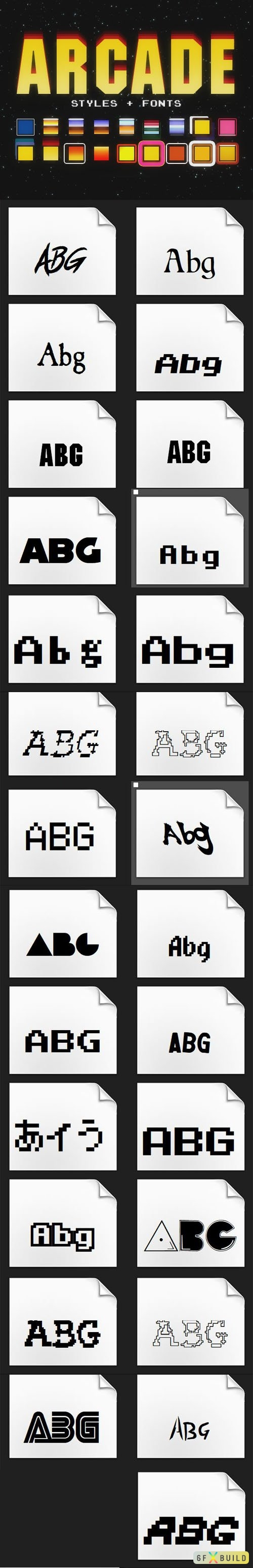 Arcade Pack - 27 Fonts & 18 Photoshop Styles