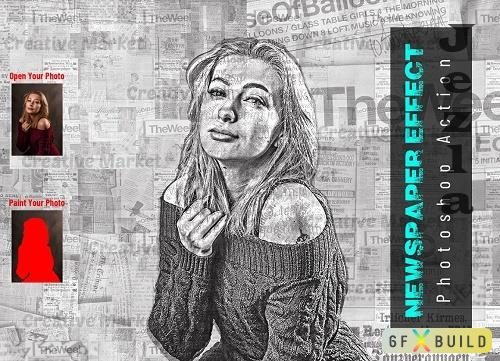 Newspaper Effect Photoshop Action - 6523018