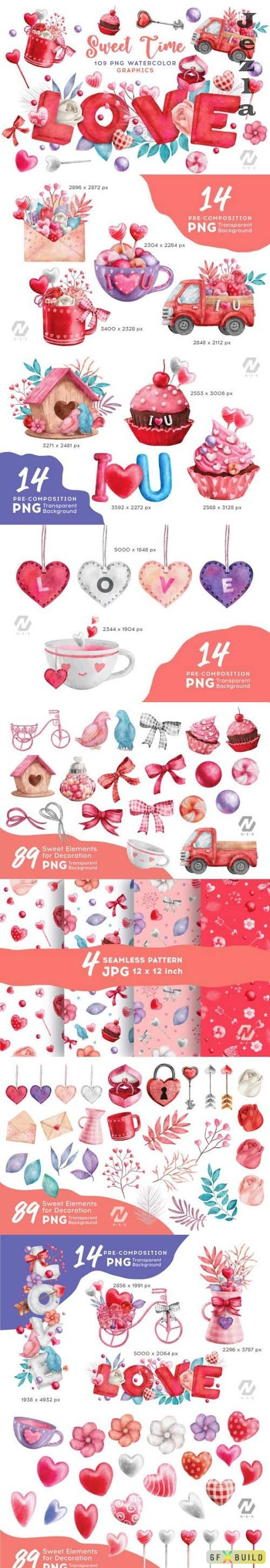 Valentine Sweet Love Watercolor Clipart