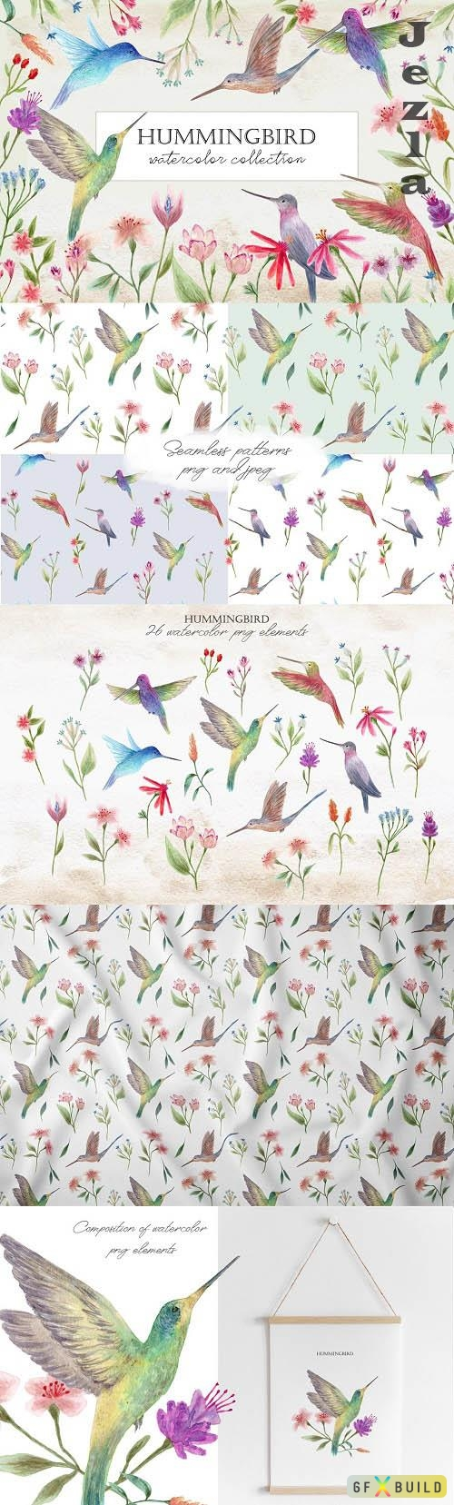 Hummingbirds. Cliparts and Patterns - 6526299