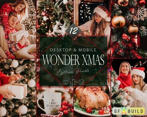 12 Wonder Xmas Lightroom Presets, Christmas Mobile Preset, Moody Desktop LR Filter - 1087894173