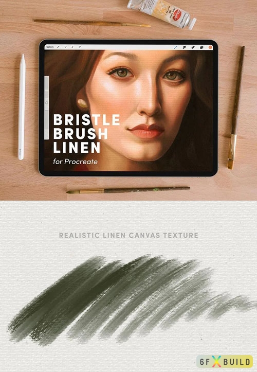 Natural Bristle Brush Linen Brushes Set for Procreate