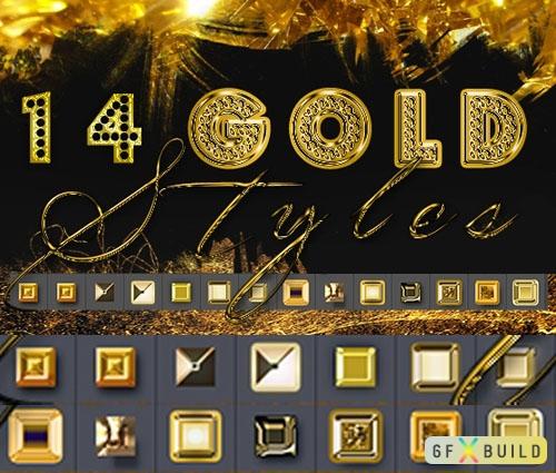 14 Gold Photoshop Styles