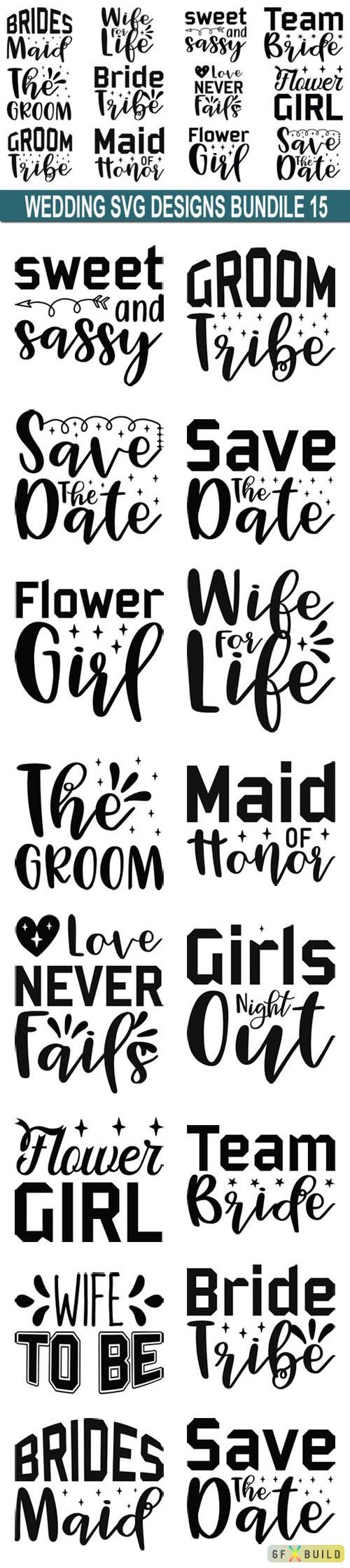 15 Wedding Vector Quotes Designs Bundle