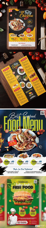 5 Restaurant Food Menu Design PSD Templates