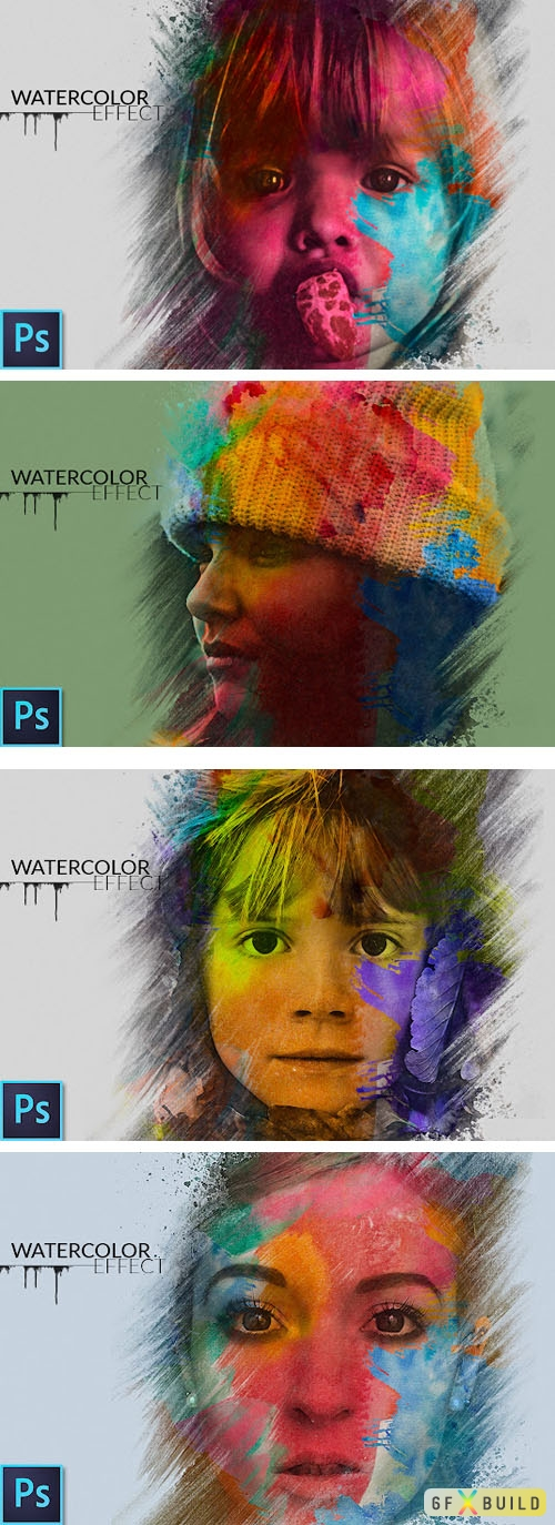 Amazing Watercolor Portrait Effect PSD Template + Brushes + Tutorial