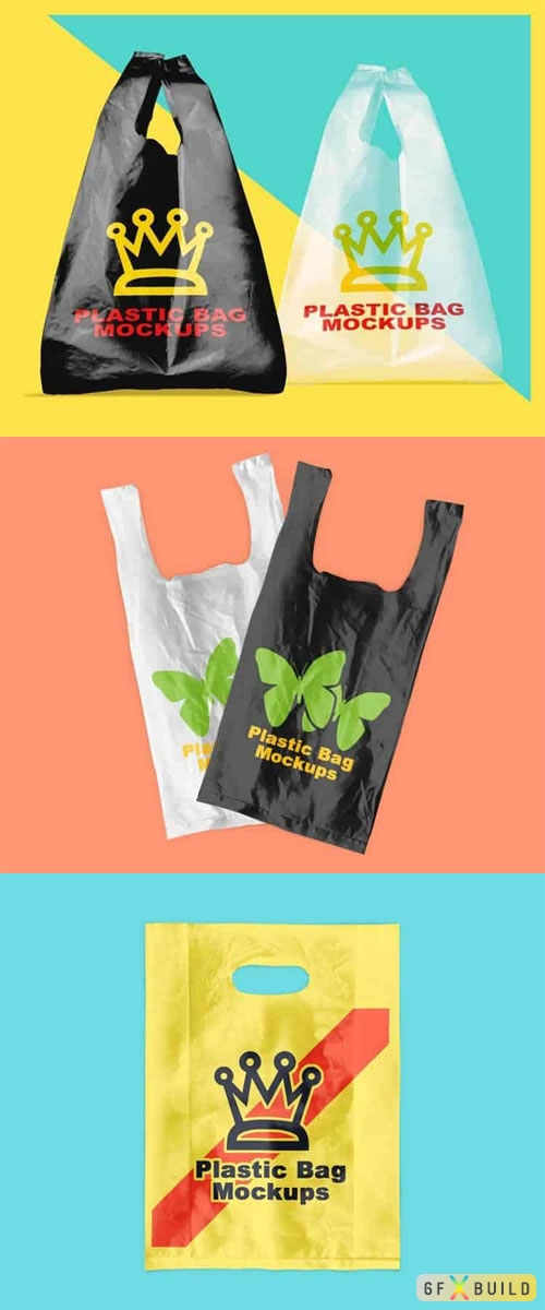 3 Plastic Bag PSD Mockups Templates